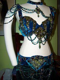 Belly Dance Costume, Peacock, bra, belt, skirt, accessories. REDUCED.