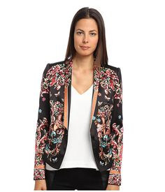 Just Cavalli Floral Printed Blazer Single breast blazer with one mid-section button. Long sleeves with faux hand pockets.