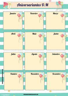 As Tontas Vão Ao Céu: Organização das Moças - Calendários de Aniversaria... Lds, Young Women, Bujo, Birthdays, Banner, Lettering, Journal, Pasta, Relief Society Activities