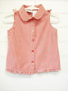Vintage Baby Shirt Red and White Gingham Baby