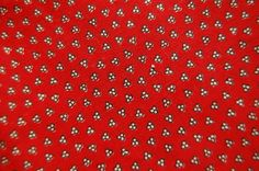 ANTIQUE FABRIC -Tiny RED Calico Print Fabric  -Antique 1800's -Turkey Red and Brown True Early Fabric