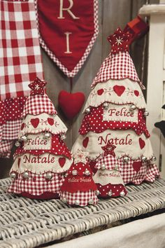I would make these with green checks and prints, but they are pretty in red and white, also. Christmas Makes, Noel Christmas, Country Christmas, Homemade Christmas, All Things Christmas, Christmas Ornaments, Christmas Projects, Felt Crafts, Holiday Crafts