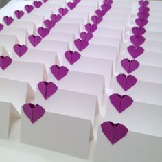 Origami theme. Place Cards, Wedding Escort Cards, Origami Paper Hearts - set of 20 - any color