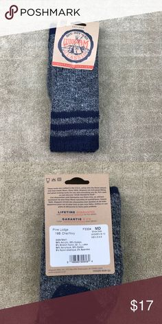 Wigwam Heather Blue Striped Pine Lodge Nylon Socks NWT