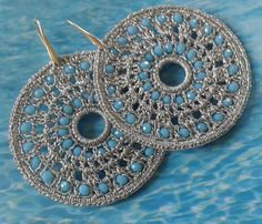 Diy Crafts - Crochet handmade earrings made from yarn and crystals-Produced nickel free Diy Crafts Earrings, Earrings Handmade, Handmade Jewelry, Crochet Earrings Pattern, Bead Crochet, Tatting Earrings, Lace Knitting Patterns, Earring Tutorial, Crochet Accessories
