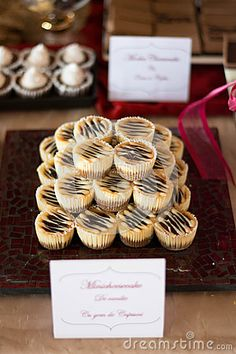 Candybar with tarts, chocolate, cakes, minicheesecake and other sweet thing. A special wedding. Place Card Holders, Chocolate Cakes, Stock Photos, Tarts, Sweet, Wedding, Mince Pies, Candy, Valentines Day Weddings