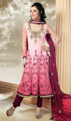 Pink Aari Embroidered Net Anarkali Suit Revel in a feeling of stardom dressed in this light pink shaded net Anarkali suit. Kameez features embellished beautiful neckline and aari embroidered floral patterns. Contrast border adds to the look.  #IndianAnarkaliSuits #IndianBridalWearSuits