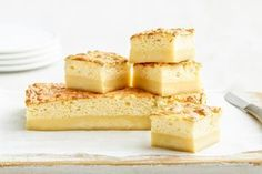 This three-layer dessert is a super easy showstopper that's ready in under an hour. Magic Cake Recipes, Dessert Recipes, Baileys Cake, Recipes With Few Ingredients, Layered Desserts, Square Cakes, Easy Baking Recipes, Cream Recipes, Tray Bakes