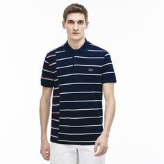 LACOSTE Men's Made in France Regular Fit Cotton Piqué Polo Shirt - ship/white-red-inkwell. #lacoste #cloth #