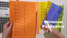 Division flash cards for grade! Simple division foldables perfect for interactive math notebooks, math homework, or division centers. Helps students memorize division facts and understand fact families. Teaching Division, Division Activities, Preschool Learning Activities, How To Teach Division, Math Division, Kindergarten Math, Math Worksheets, Math Resources, Math Facts