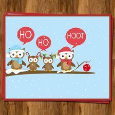 Owl Christmas Cards with Owl Family, Set of 10 Printed with Envelopes, FREE shipping. $8.00, via Etsy.