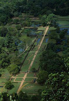 fountains and gardens viewed from atop Sigiriya rock, Sri Lanka