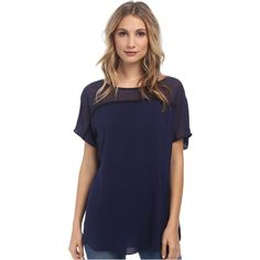 BCBGeneration Blocked Seamed Tee Women's T Shirt, Navy ($41) ❤ liked on Polyvore featuring tops, t-shirts, navy, navy blue t shirt, navy blue shirt, short sleeve t shirts, colorblock t shirt and short sleeve tops