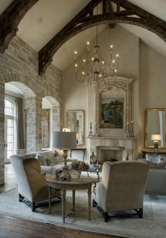 Beautiful Living Room (Designer: Kara Childress Architectural Consultant: Sara room design design ideas home design design interior design 2012 Living Room Decor Country, French Country Living Room, My Living Room, Home And Living, Living Spaces, Country French, French Style, French Cottage, French Grey