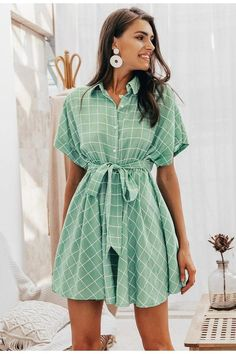 a line dress Casual - Elegant plaid Short sleeve A-line casual streetwear short Button summer dress Women's Dresses, Short Sleeve Dresses, Short Sleeves, Elegant Dresses For Women, Casual Summer Dresses, Casual Knee Length Dresses, Dress Summer, Dress Casual, Summer Outfits