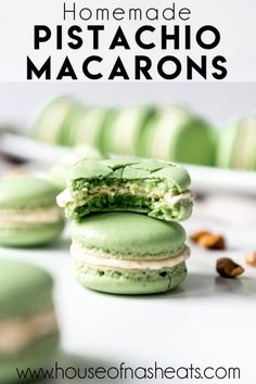 These delightful Pistachio Macarons are filled with pistachio buttercream and remind me of our time in Paris and the famous French macarons we got from Ladurée. Let your tastebuds do the traveling without the jetlag by making these at home! Macaroon Filling, Macaroon Cookies, Macaroons Flavors, French Macarons Recipe Flavors, Easy Macaroons Recipe, Homemade Macarons, How To Make Macarons, Pistachio Macaron Recipe, Gastronomia