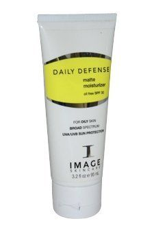 Image Skin Care Daily Defense Matte Moisturizer SPF 30 3.2 oz by Image Skin Care. $26.79. Moisturizer provides skin with the ultimate in protection and prevention.. This next generation oil-free, pure physical broad spectrum UVA/UVB moisturizer. Contains potent anti-oxidant thiotaine, as well as free radical scavengers. Micro-sponge technology to absorb skins surface oils to leave skin with a matte, non greasy shine free finish. This new generation, oil-free, pure physical...