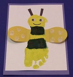B is for Buzzy Bee Footprint Bumble Bee #bees
