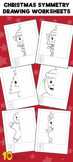 Christmas Symmetry Drawing Worksheets - Christmas Activities For Kids - Christmas Tree Printable, Christmas Art For Kids, Christmas Math, Christmas Activities For Kids, Christmas Drawing, Noel Christmas, Christmas Crafts, Symmetry Activities, Symmetry Worksheets