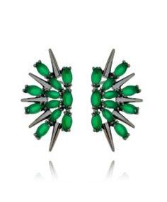ear cuff moderno com zirconias verdes rodio negro