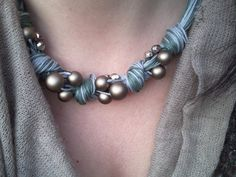 Cotton string necklace and beads by khaliweb on Etsy, $30.00