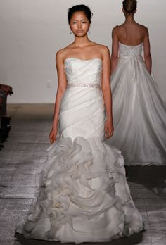 Brides: Rivini by Rita Vinieris. Delicate drapes of silk gazar over a fitted elongated bodice.