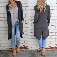 Women Irregular Long Sleeve Cardigan Loose Windbreaker Outwear Jacket Long Coat 616919607515   eBay