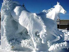Arte Neve Animali (24) - Sníh - běžící koně