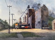 """Michael Broshar on Instagram: """"Found out that Stratford Terminal received the Fav15% in the June Boldbrush competition. Thanks to the folks at Boldbrush! #boldbrush"""" Norman Cornish, Peter Howson, Local Artists, Competition, Folk, Thankful, Watercolors, Landscapes, June"""