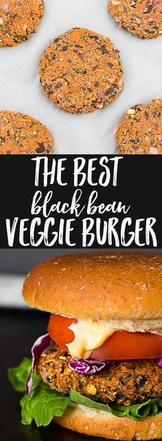Black Bean Veggie Burger: My favorite veggie burger! Vegan Bean Burger, Best Veggie Burger, Black Bean Veggie Burger, Vegan Burgers, Turkey Burgers, Black Bean Burgers, Mini Burgers, Best Vegan Recipes, Veggie Recipes