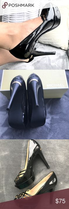 Like new MK Lana platform patent leather shoes Worn once sexy Michael Kors Lana platform shoes. Peep toe and grid design pumps. Made of patent leather in black and accented with gold Michael Kors plate. It has a couple of tiny blemishes in the bottom that are barely visible. Comes with box and tissues Michael Kors Shoes Heels