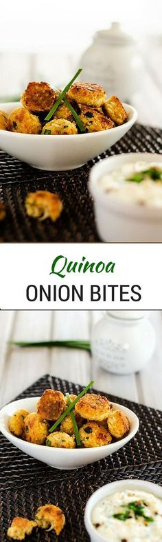 Onion Quinoa Bites - These Quinoa Onion Bites are the perfect healthy finger food!  Gluten Free with a Vegan Option! - http://WendyPolisi.com