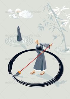 Zen Monk Painting A Circle  #GraphicRiver         Zen monk in a garden painting a large circle on the floor with a big brush. In the garden there is a stone and few concentric circles of sand and bamboo plant. In the sky is the moon.  	 The folder contains an illustrator file, an EPS10 file, and a high resolution JPG file. You can easily take each character separately.  	 - Vector (AI + EPS10 ) – Easy to edit & customize.     Created: 23April12 GraphicsFilesIncluded: JPGImage #VectorEPS…