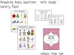 Speech Time Fun: Answering Basic Questions - With Visuals! VARIETY PACK! Pinned by SOS Inc. Resources. Follow all our boards at pinterest.com/sostherapy/ for therapy resources.