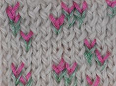 Embroidery on knit, tulips