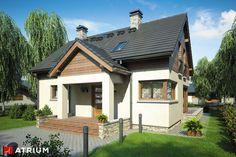 Dom z poddaszem użytkowym, dużą kotłownią i lukarną. Samba, Home Fashion, House Plans, Cabin, Mansions, Studio, House Styles, Interior, Atrium