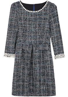 Blue Long Sleeve Vintage Bead Tweed Dress US$37.70
