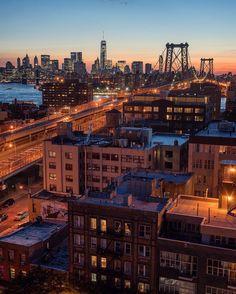 New York at night as seen from Brooklyn overlooking the Williamsburg Bridge by @camilleschaer | newyork newyorkcity newyorkcityfeelings nyc brooklyn queens the bronx staten island manhattan