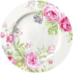 GreenGate Stoneware Plate Vera Pale Pink D 20 cm Vintage Plates, Vintage Dishes, Vintage China, Antique Plates, Pale Pink, Pink Roses, Pink And Green, Statue Ange, Bougie Rose