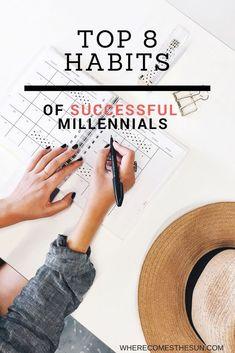 Top 8 habits of successful millennials. Healthy Lifestyle Habits, Healthy Habits, Lifestyle Blog, Achieving Goals, Achieve Your Goals, 5am Club, Self Development, Personal Development, Thing 1