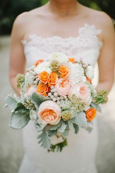 Shea Christine Photography; Orange and Pink Rustic Miami Wedding from Shea Christine Photography - bridal bouquet
