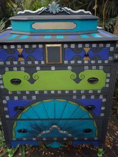 The Little Peacock...custom order painted vintage dresser for Heidi