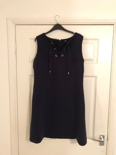 F & F Blue Ladies Workwear Tunic Dress Size 14 Knee Length Excellent Condition