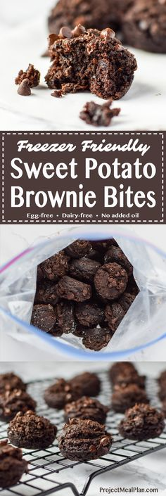Freezer Friendly Sweet Potato Brownie Bites recipe - Sweet potato brownie bites are perfect to store in the freezer for your dessert cravings! Eggless + vegan options! - ProjectMealPlan.com