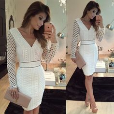 Cute white dress with nude accessories Beautiful Dresses, Nice Dresses, Short Dresses, Dress Skirt, Peplum Dress, Bodycon Dress, Cute White Dress, Frack, Dress To Impress