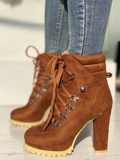 3f152b8f728 Platform Lace-Up Chunky Heeled Boots
