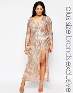 Plus Size Perfectionist Pink Sparkle Long Sleeve Sequin Dress ...