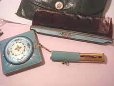 Handmade by genuine leather Lipstick//coin Holder Blue Pills//Jewelry Case