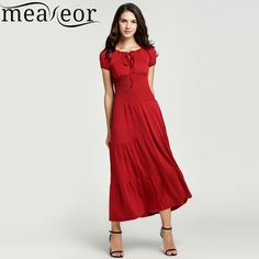 >>>OrderMeaneor Brand 2016 Women Casual Summer Autumn Lady Boat Neck Elegant Dress Short Sleeve Tunic Elastic Solid Long Maxi Dress-in Dresses from Women's Clothing