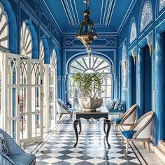 In #Jaipur? Stop by @BarPalladio at the Narain Niwas Palace Hotel. A treat for the senses with its electric blue walls and designed by @M.A.Jaipur might be one of the most visually delightful restaurants in the world. #FivestoryFavorite